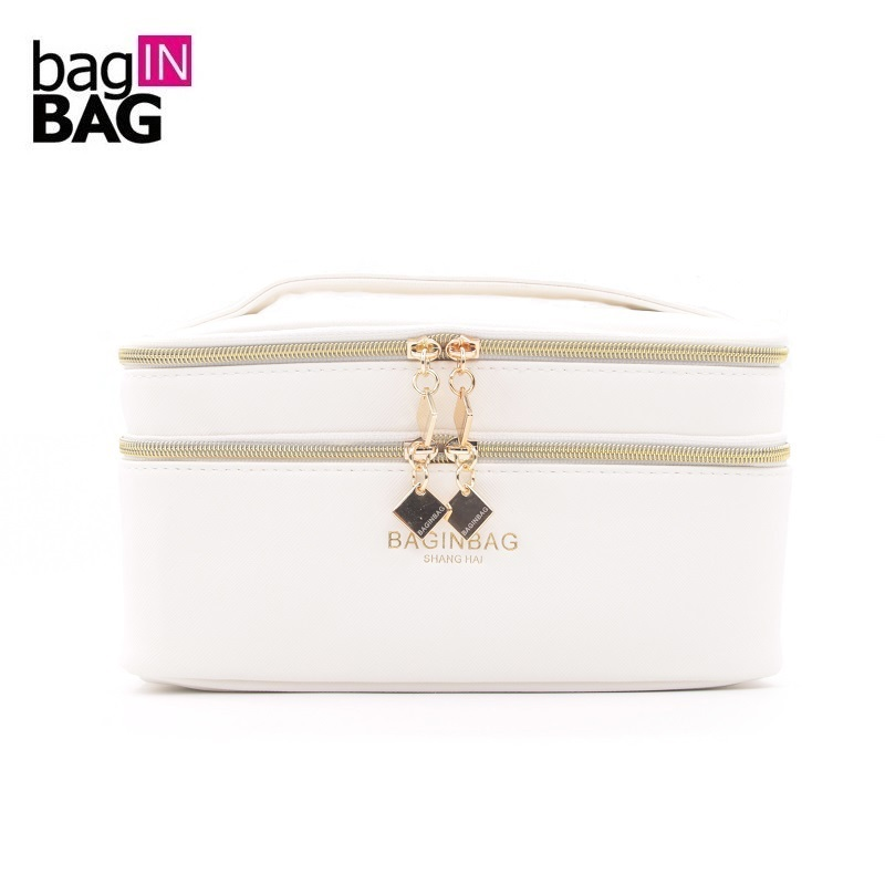 Baginbag Double Layer Cosmetic Bag Multifunctional White Beauty Bags; Belt Pocket Makeup Bag Toiletry Bag 20*12*12cm; 5 Colors