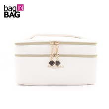 Baginbag Double Layer Cosmetic Bag Multifunctional White Beauty Bags; Belt Pocket Makeup Bag Toiletry Bag 20*12*12cm