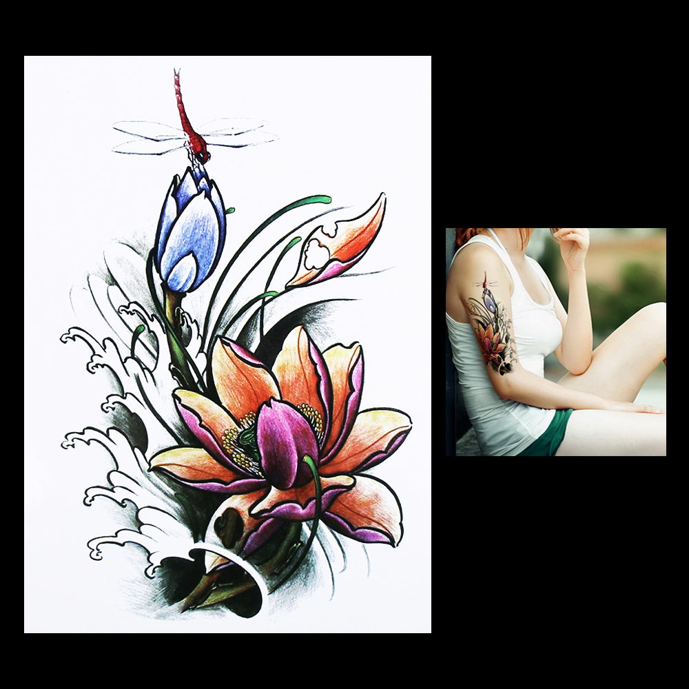 1 Piece Women Men Body Art Temporary Tattoo Hb314 Dragonfly Lotus