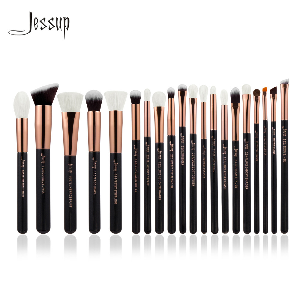 Jessup Rose Gold/Black Professional Makeup Brushes Set Make up Brush Tools kit Foundation Powder Brushes natural-synthetic hair jessup 5pcs black gold makeup brushes sets high quality beauty kits kabuki foundation powder blush make up brush cosmetics tool