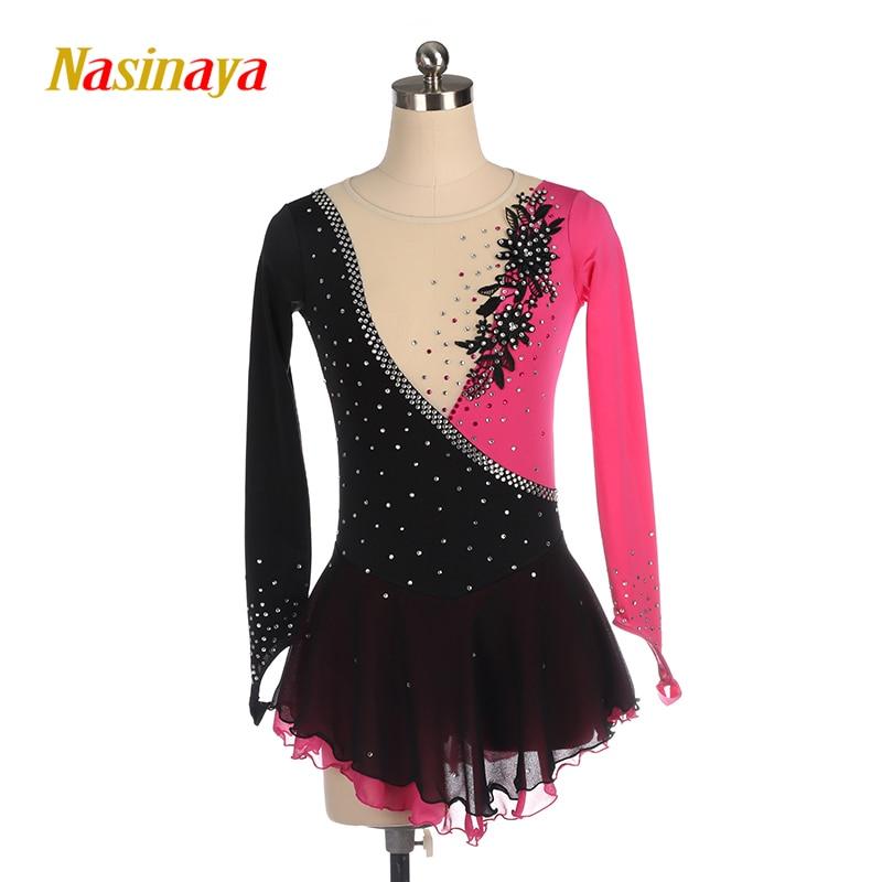 Nasinaya Figure Skating Dress Ice Skating Skirt For Girl Women Kids Customized Competition Patinaje Performance Stitching Color