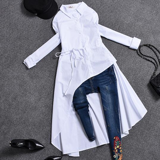 2019 spring autumn Women long sleeve Irregular blouse turn down collar Plus Size Women long shirt