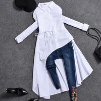 2019 spring autumn Women long sleeve Irregular blouse turn down collar Plus Size Women long shirt