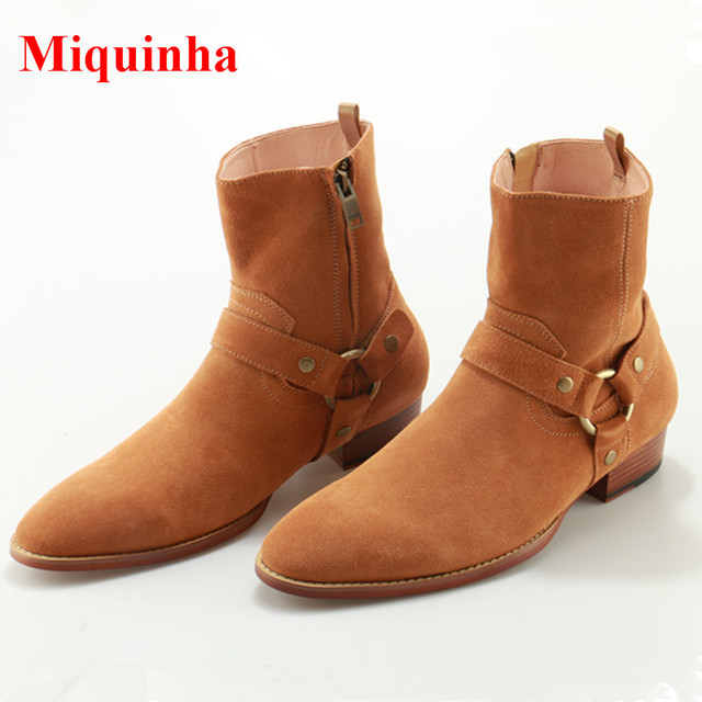 5e64e57db94b2 Bota Masculina Western Cowboy Boots Wyatt Tan Leather Harness Men Ankle  Boots Stacked Heels Cool Chelsea Boots Chaussure Homme