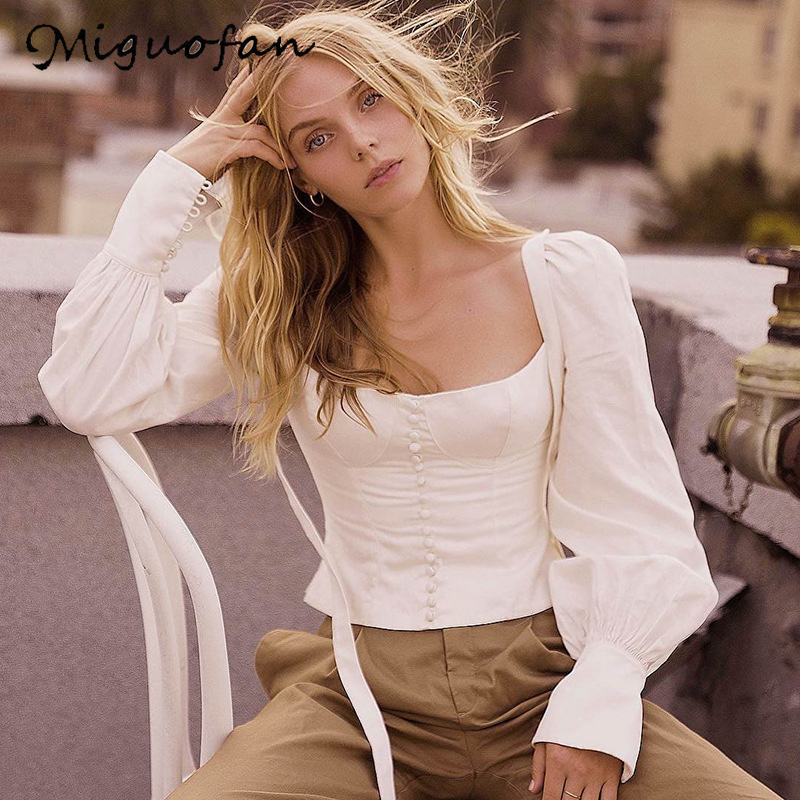 Miguofan Women Solid Bow Tied Buttons   Blouse     Shirts   Top Lantern Sleeve Elegant Ladies Tops   Blouses     Shirts   Female 2018 Autumn New