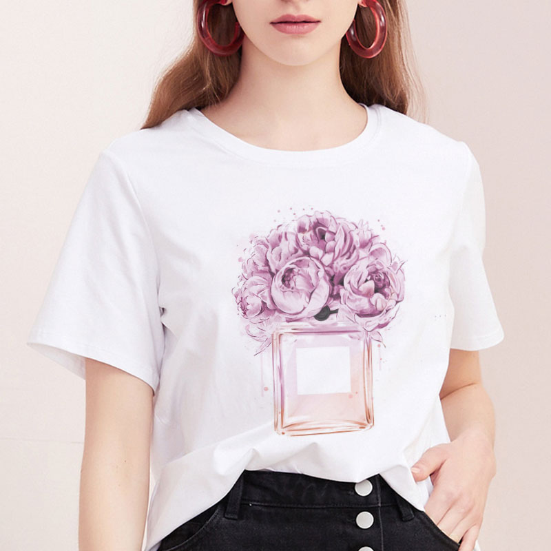 <font><b>2019</b></font> <font><b>Women</b></font> <font><b>T</b></font> <font><b>Shirt</b></font> <font><b>Harajuku</b></font> <font><b>Flower</b></font> Perfume <font><b>T</b></font>-<font><b>shirt</b></font> <font><b>Summer</b></font> Top Short Sleeve Plus Size Graphic Tee <font><b>Shirts</b></font> Casual Female Tshirts image