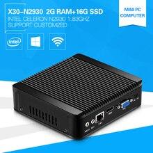 XCY Мини-ПК Celeron N2930 1.83 ГГц quad-core 2 г Оперативная память 16 г SSD OEM Тонкий настольный компьютер Окна 10 HTPC неттоп
