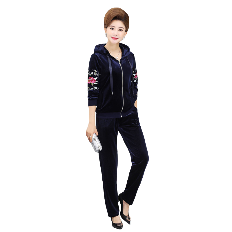 24hours Delivery Tracksuit For Women Spring 2piece Set Top+pants Women's Suits Gold Velvet Embroidery Clothes Set Woman