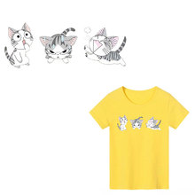 Cute Animals Cat Iron on Patches DIY Heat Transfer Washable Fashion Stripe Stickers Clothes Decor T-shirt Print PVC E