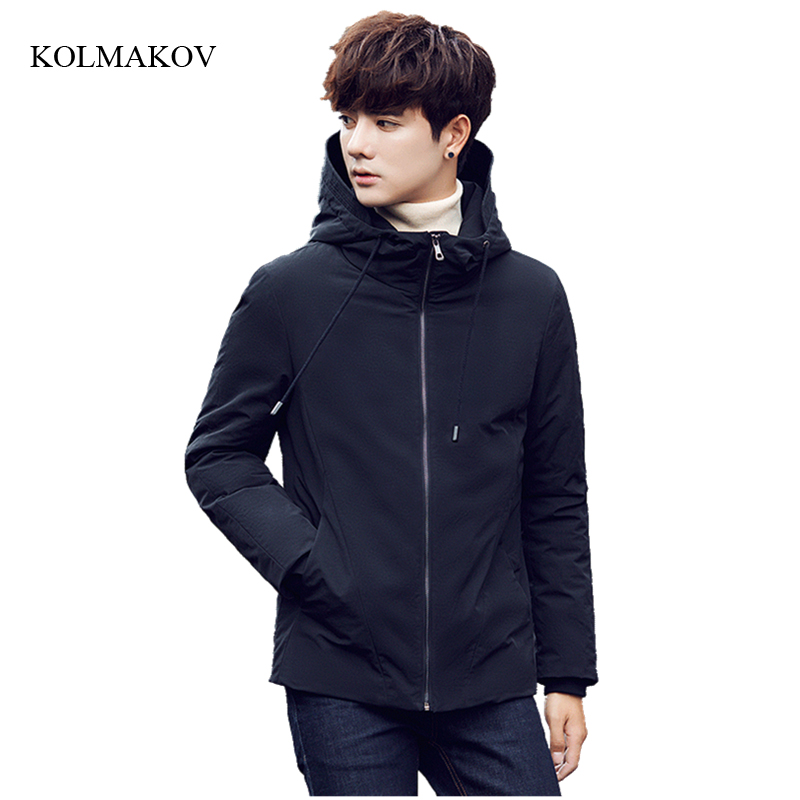 2017 new arrival winter Style men boutique down coats high quality zippers hooded down coat mens solid slim jacket size M-3XL