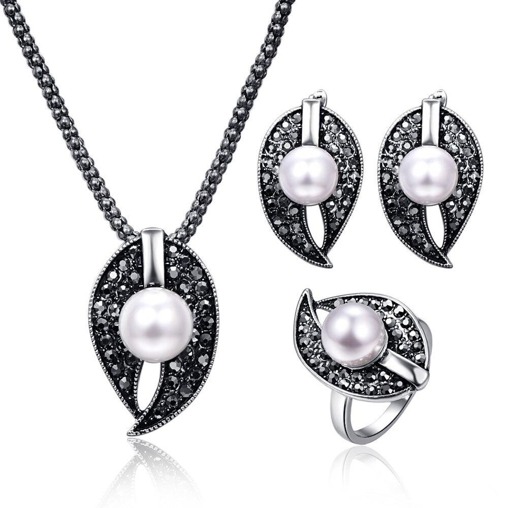 2017 Neue Design Wasser Tropfen Anhänger Frauen Vintage Schmuck Sets Antike Schwarz Kristall Geometrische Perle Perlen Halskette Schmuck Sets Komplette Artikelauswahl