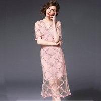 Розовый v образным вырезом леди Облегающее кружевное платье 2018 лето осень элегантные ретро вечерние кружева ушко разрезом по низу платья но