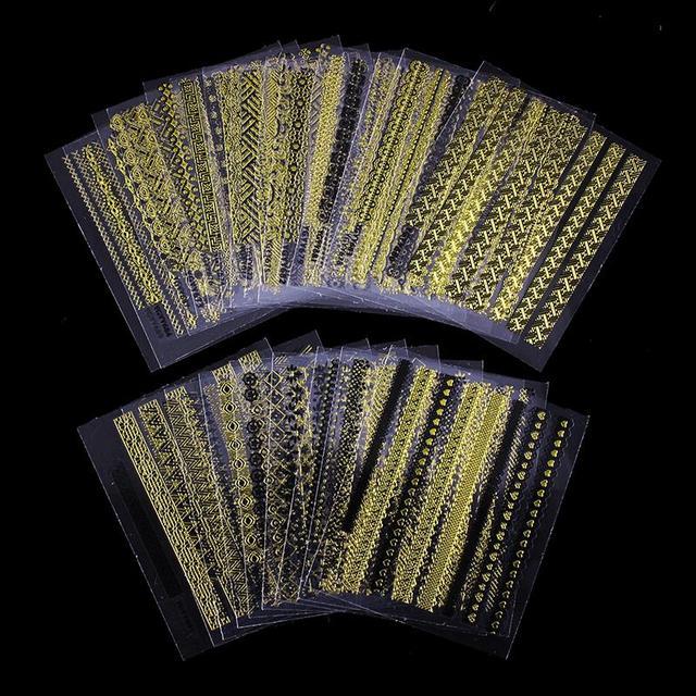 3D Gold Design Nail Stickers (24 Pcs/lot)