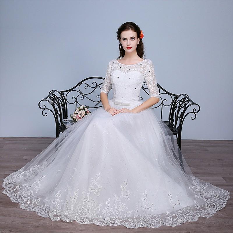 Fashion Plus Size Wedding Dress 2016 Women Lace Sweetheart Half Sleeve Vestidos De Noiva WD2672 (9)