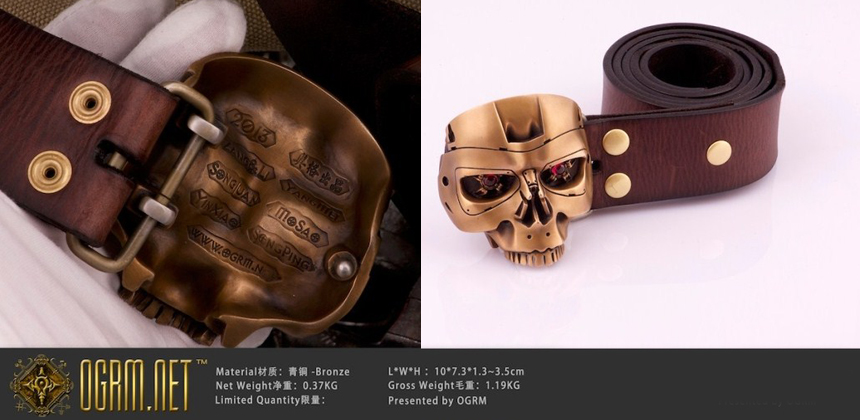 0a4556f9394 OGRM Nice Handmade Bronze T800 Terminator Head Men Belt Buckles ...