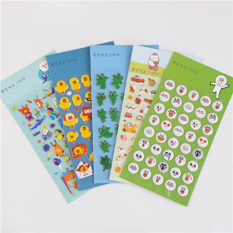 Kawaii DIY Cartoon 3D Sponge Bubble Sticker Frog Duck Duckling Bunny Amusement Park Kids Toy Notebook Album Planner Memo Sticker