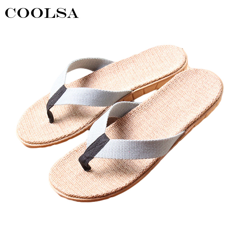 Coolsa New Summer Men Linen Slippers Fabric Webbing Flax Flip Flops Flat Non Slip Indoor Slippers Man Casual Beach Sandals Shoes
