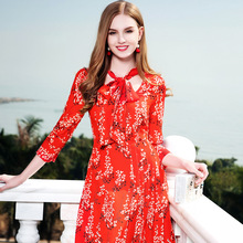 ФОТО Chiffon pleated dress  2018 spring summer bohemian dress three quarter sleeve print A line dress high end vestidos
