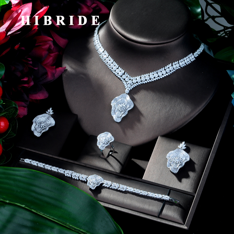 HIBRIDE Luxus Geometrie Neue Afrikanische Halskette Ohrring Set Schmuck Set für Frauen Hochzeit Zirkon CZ Dubai Braut schmuck Set N 118-in Schmucksets aus Schmuck und Accessoires bei  Gruppe 1