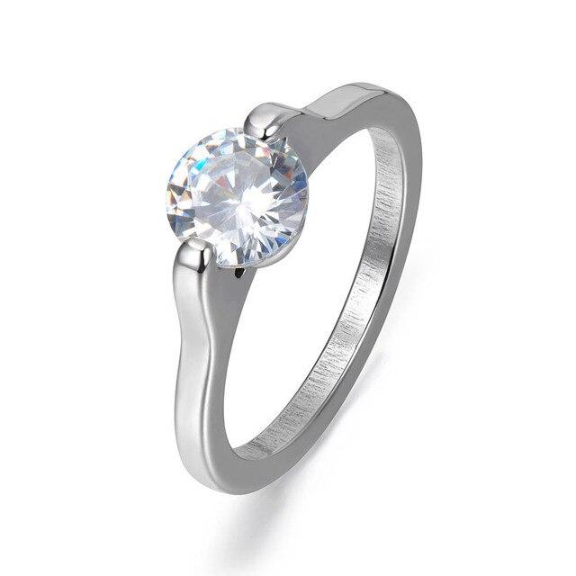 JeeMango Brand Shining Cubic Zirconia Ring For Women 316L Stainless Steel Luxury