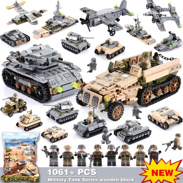 8 Di 2 1061 Pcs Kerajaan Baja Teknik Blok Kompatibel Secara Terbuka Truk Tentara Blok Bangunan Militer Kendaraan Mobil mainan Batu Bata