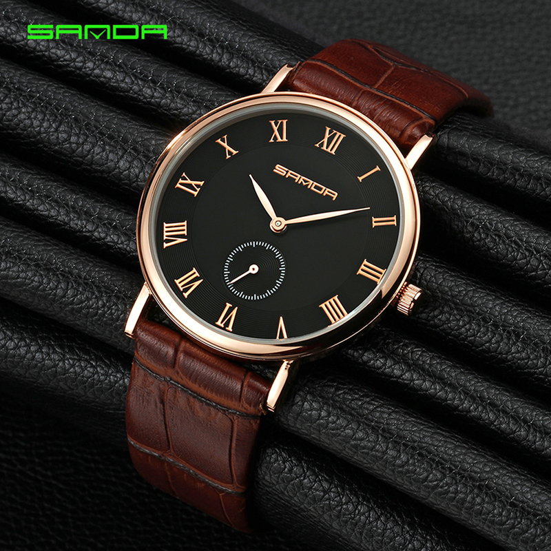 SD-187 Fashion Luxury Watches Men Leather Band Quartz Wrist Wristwatch Waterproof Male Clock Watch Gifts For Men Relojes Hombre cj 2104 watches men leather band quartz wrist wristwatch fashion black simple watch men 2018 round leather watch water resistant