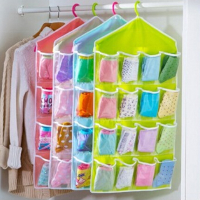 16 grid plastic cupboard home clothes underwear storage hanging organizer bags hang organizers bag household products with rack mata bor amplas