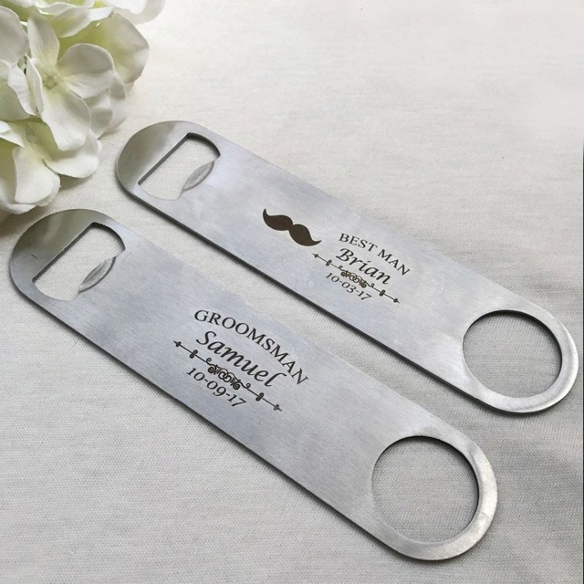 5pcs Personalized Engraved Stainless Steel Beer Bottle Opener Wedding Favors Customized Name Gifts 178 40mm