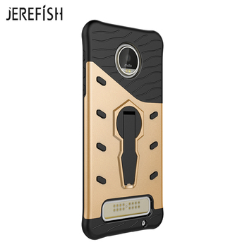 JEREFISH For Motorola Moto Z Play Case Armor Shockproof 360 Degree Rotation Silicone Hard Stand Phone Cover For Moto Z Play Case mobile phone