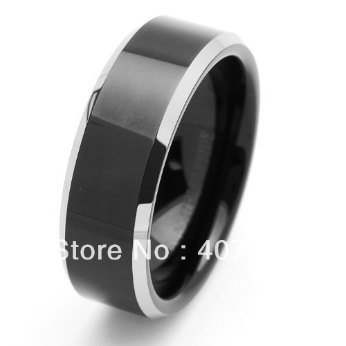 Free Shipping Cheap Price Jewelry USA Brazil Russia Hot Sales His Her 8MM Beveled Edges Black