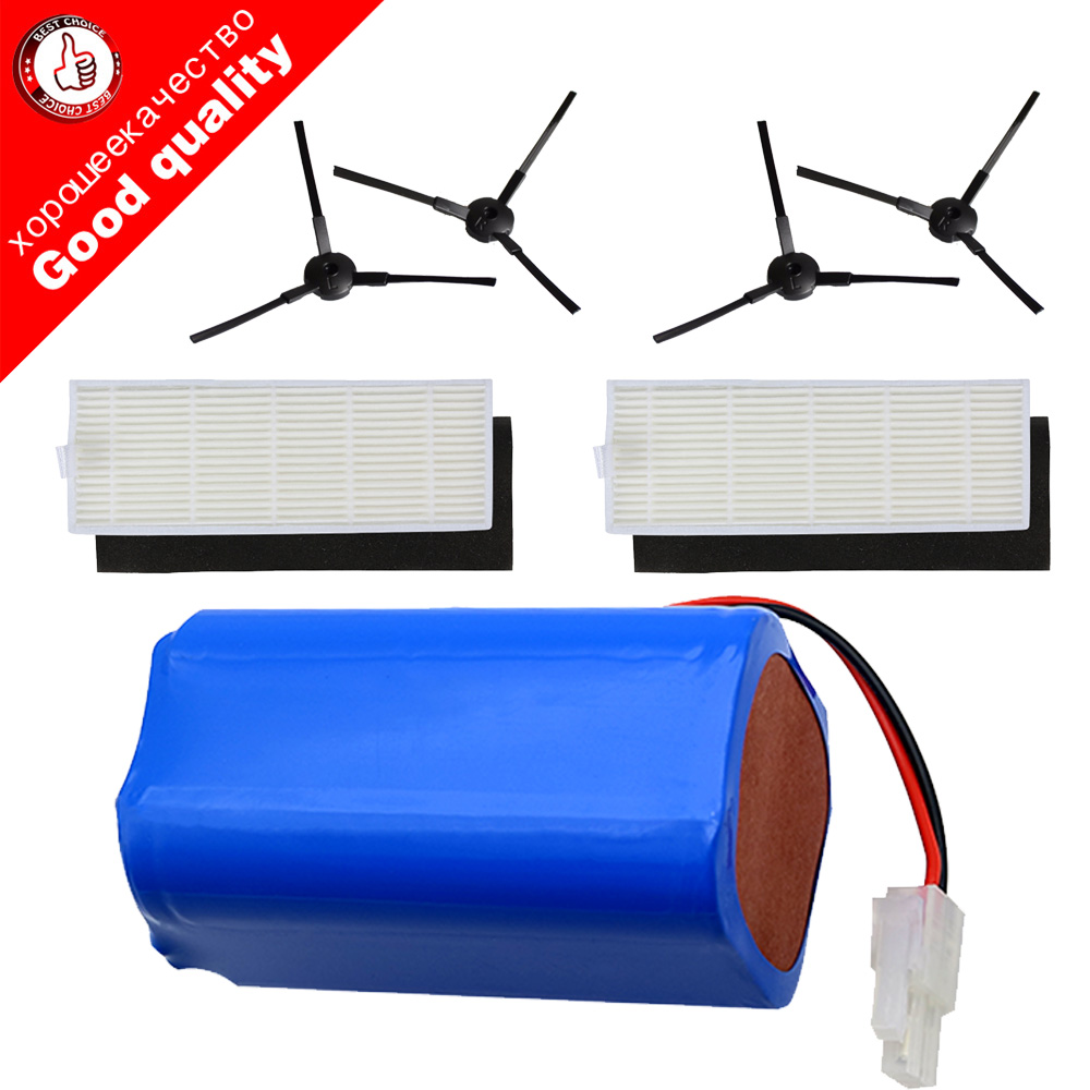 4 X Sidebrush+2 X Filter+14.8V 2600mAh Rechargeable Battery For Chuwi Ilife A4 A4s A6 Robotic Vacuum Cleaner Accessories Parts