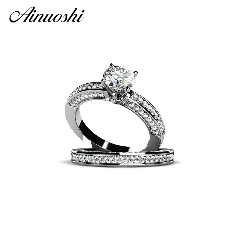 Classic 925 Sterling Silver Ring Luxury 2 Pieces Fashion Wedding Ring Set 1 Carat SONA NSCD Jewelry for Women as Chirstmas GiftClassic 925 Sterling Silver Ring Luxury 2 Pieces Fashion Wedding Ring Set 1 Carat SONA NSCD Jewelry for Women as Chirstmas Gift