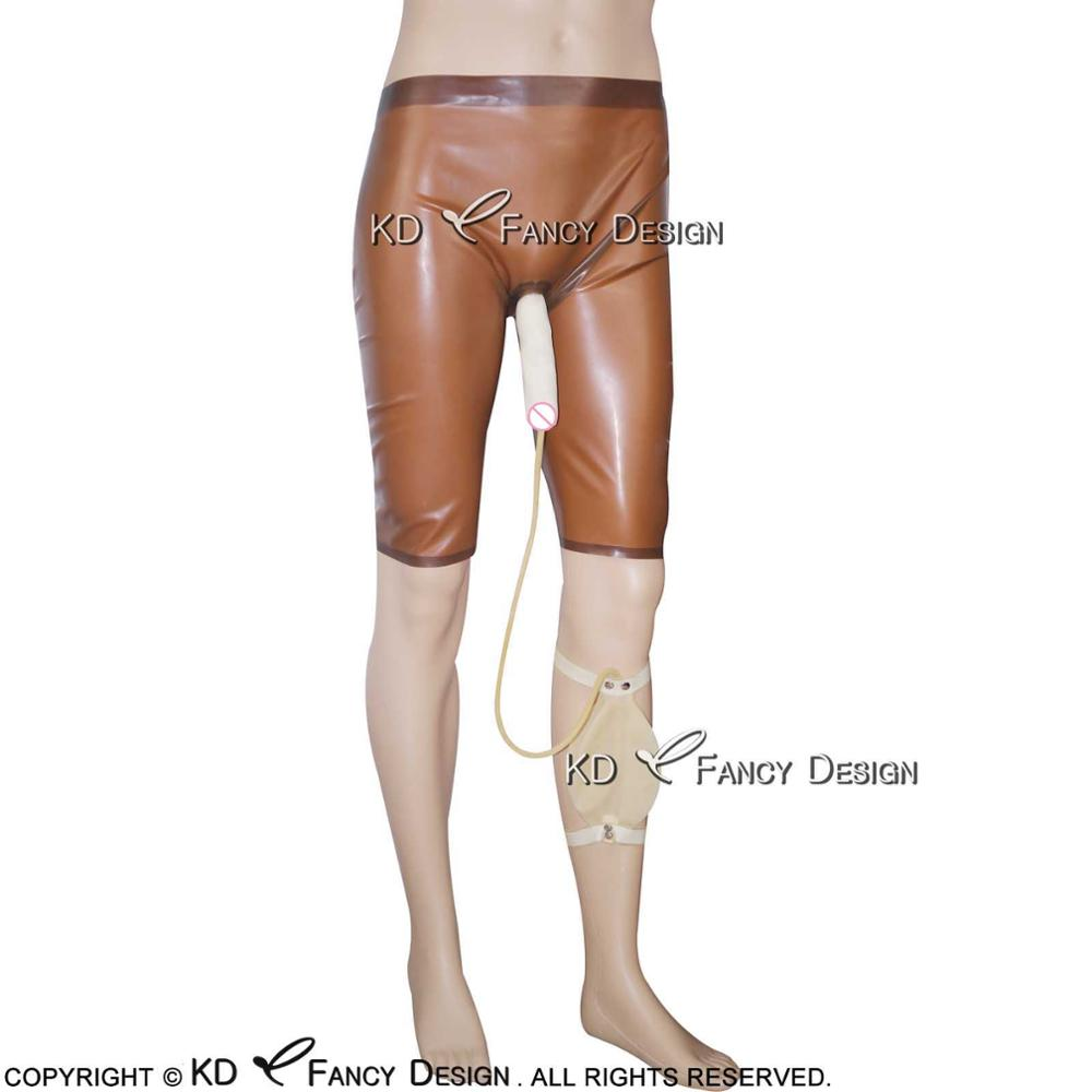 Transparent Brown With Transparent Latex Long Leg Boxer Shorts With Condom And Piss Bag Rubber Bermuda