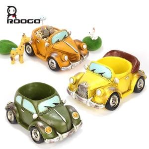 Image 4 - Roogo 자동차 꽃 냄비 재배자 실내 수지 정원 11 스타일 작은 즙이 많은 계획 냄비 야외 현대 가정 장식 인형