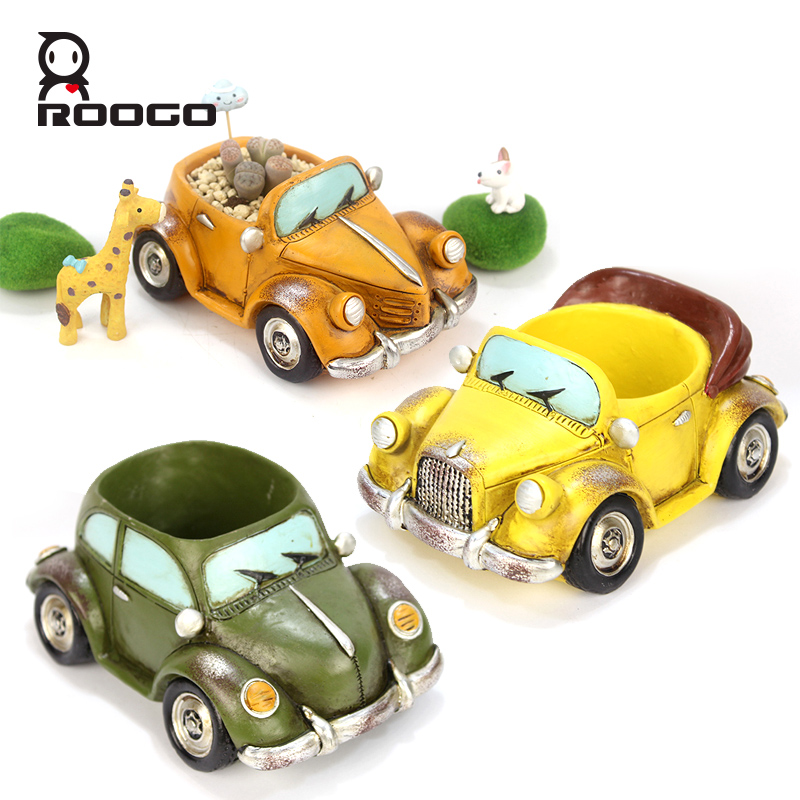 Image 4 - Roogo Car Flower Pot Planters Indoor Resin Garden 11 Style Small Succulent Plan Pot Outdoor Modern Home Decoration Figurines-in Flower Pots & Planters from Home & Garden
