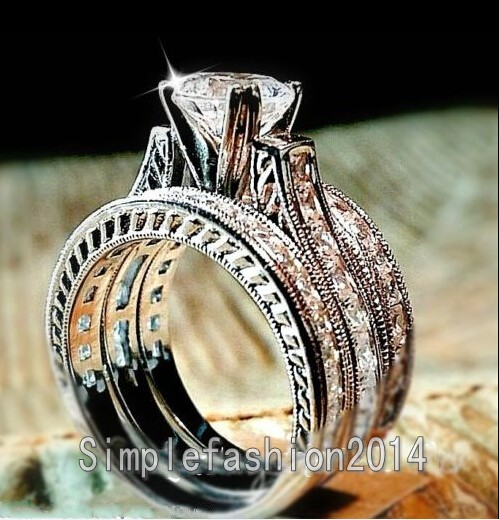 New Jewelry 3 In 1 Engagement Band Princess Cut Stone 5a Zircon Birthstone 14kt White Gold Filled Women Wedding Ring Set Sz 5 11 Rings From