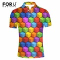 Forudesigns nova mens top polo verão camisas de manga curta turn-down collar 3d mix-cor slim fit moda homens polo camisas homme