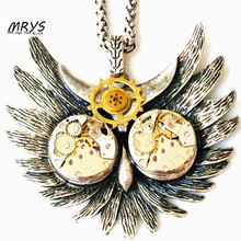 steampunk gothic punk rock owl watch parts movements metal gear necklace pendant chain men boy women chunky vintage jewelry gift