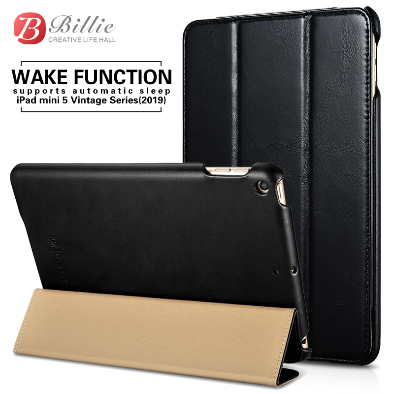Luxury Genuine Leather Case For New iPad Mini 5 2019 Retro Cowhide Leather Tri-Fold Stand Cover For iPad Mini5 7.9'' Tablet Case