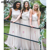 Country Style Chiffon Bridesmaids Dresses Mixed Neckline A Line Boho Wedding Guest Party Maid of Honor Gowns Plus Size