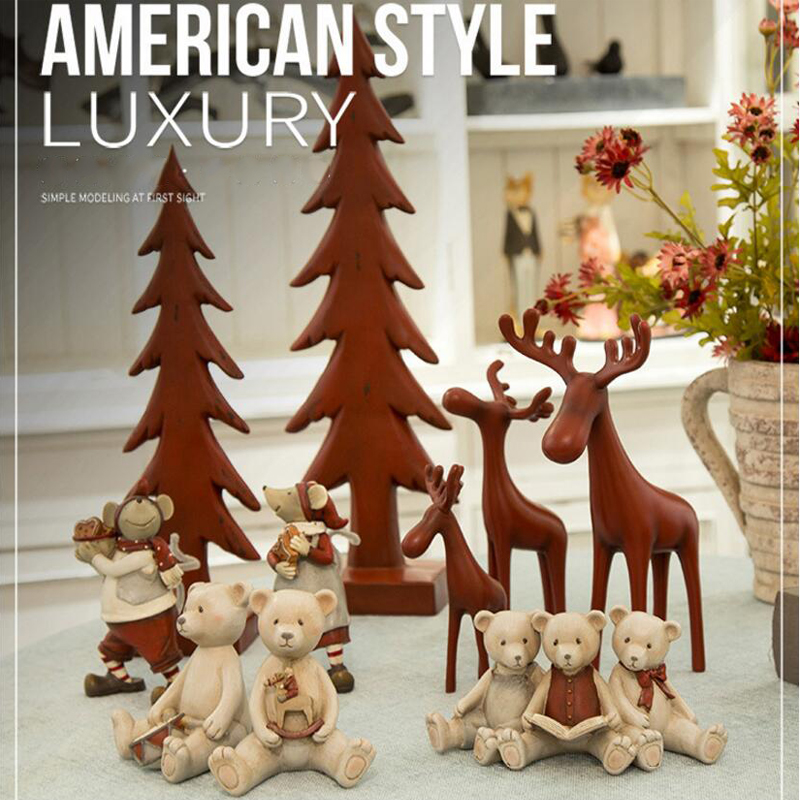 Christmas Gift Resin Northern Eoupean Figurines Bear Ornament Doll Home Decoration for New Year Gift 1 Piece Free Shipping