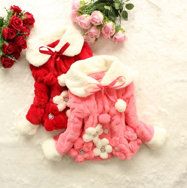 Baby Kids Girls Faux Fur Fleece Party Coat Winter Warm Jacket Children Xmas Snowsuit 3 Colors Q70