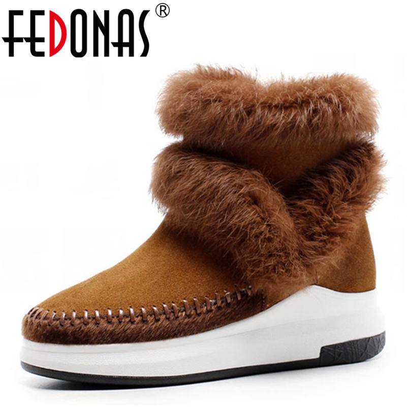 FEDONAS Women Wedges Heeled Cow Suede Genuine Leather Warm Plush Snow Boots Women Winter Shoes Woman Rabbit Fur Quality Boots hot genuine leather women artificial rabbit fur snow boots high platform ladies wedges heels mid calf boots suede rivets shoes