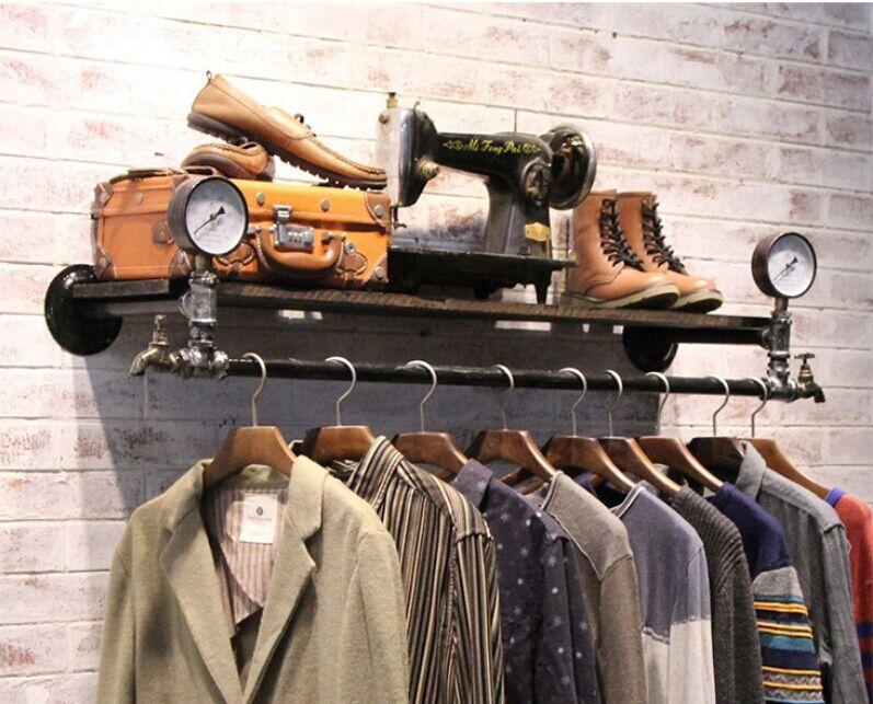 Vintage Iron Hanger Rack Wall Side Pipe Coat Rack Clothing