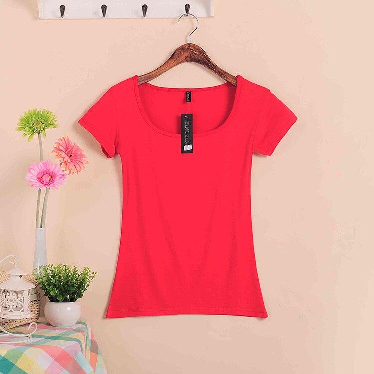Базовые Стрейчевые топы размера плюс,, Летний стиль, короткий рукав, футболки для женщин, u-образный вырез, хлопок, женские футболки, повседневные футболки - Цвет: W00630 red