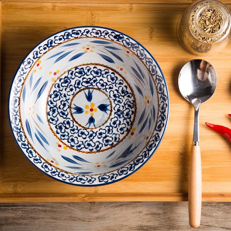European Bowl Soup Ramen Bowl Korean Style Noodle Bowl Large Salad Bowl Original Hand-painted Underglaze Ceramic Household