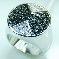 Wholesale Retail Brand New Black Onyx White Topaz Crystal 925 Sterling Silver Ring Free Shipping F362