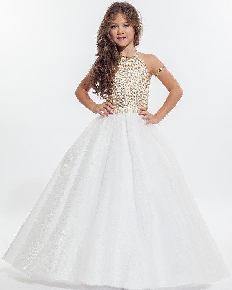 Custom White Flower Girl Dresses Gold Diamond Decoration First