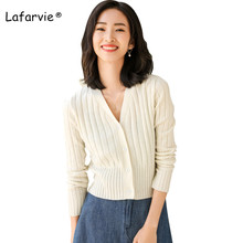 Lafarvie Wool Blended Knitted Short Cardigan Sweater Women V-neck Single Breasted Slim Fashion Cardigans 4 Colors S-XL Pull Soft