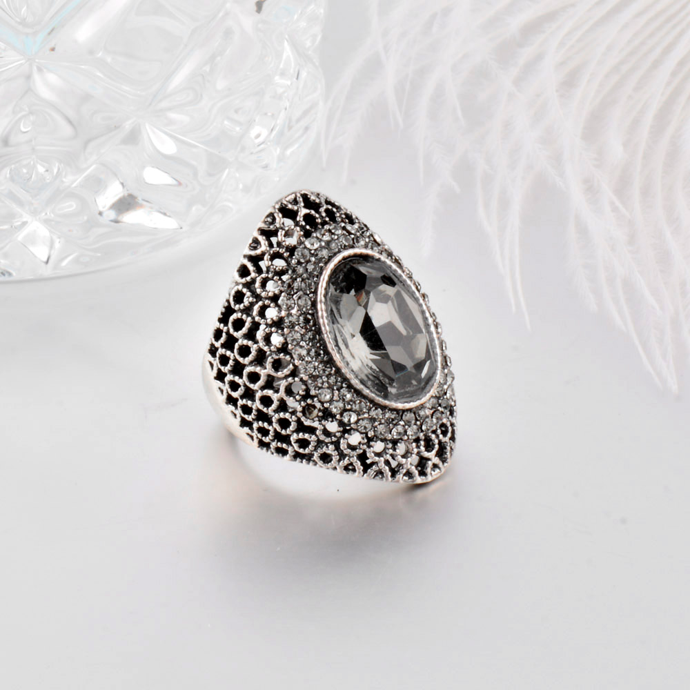 SINLEERY Luksus Vintage Grå Cubic Zircon Hollow Big Rings For Women - Mode smykker - Foto 5